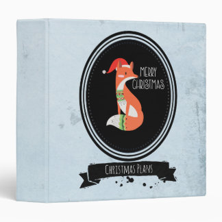 Cute Fox in Christmas Hat inside a Black Oval 3 Ring Binder