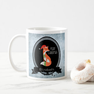 Cute Fox in Christmas Hat inside a Black Oval Coffee Mug