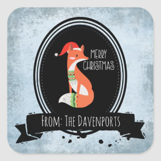 Cute Fox in Christmas Hat inside a Black Oval Square Sticker