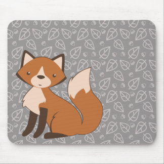 Cute Fox on Leaf and Acorn Pattern Mouse Pad