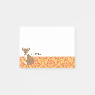 Cute Fox  on Orange Patterned Border Post-it® Notes