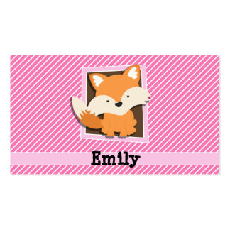 Cute Fox on Pink & White Stripes Double-Sided Standard Business Cards (Pack Of 100)
