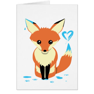 Cute Fox Painting Blue Heart Custom Greeting Card