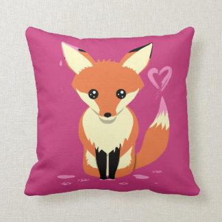 Cute Fox Painting Pink Heart Pillow