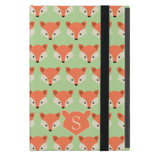 Cute Fox Pattern on Green Monogram Cover For iPad Mini