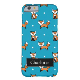 Cute Fox Pattern White Dots Custom Name Barely There iPhone 6 Case