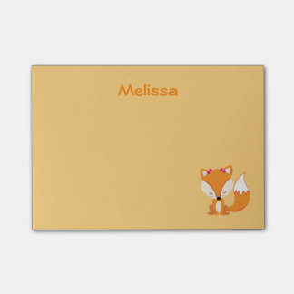 Cute fox personalize golden color post-it notes