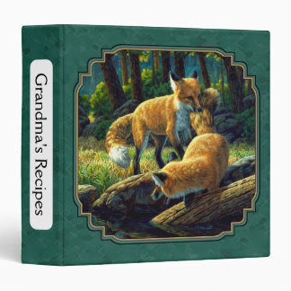 Cute Fox Pups Playing Forest Green Vinyl Binders