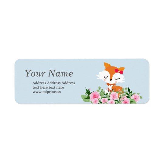 cute fox  return address stickers