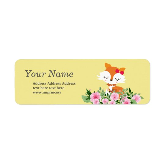 cute fox  return address stickers return address label