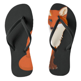 Cute Fox Sitting Flip Flops