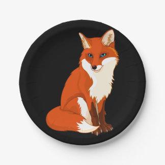 Cute Fox Sitting Paper Plates