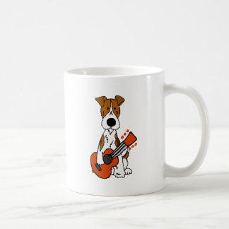 Cute Fox Terrier laying Guitar Art Coffee Mug