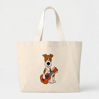 Cute Fox Terrier laying Guitar Art Large Tote Bag