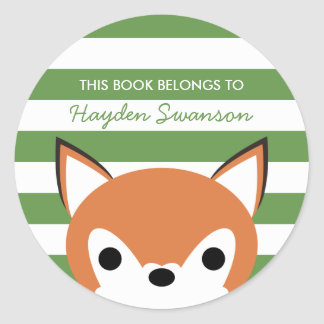 Cute Fox | This Book Belongs To Round Sticker
