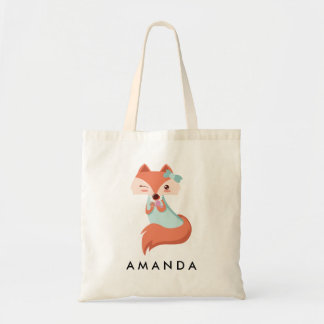 Cute FOX WITH BLUE BOW AND MIRROR Personalized Tote Bag