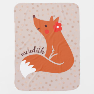 Cute Fox With Flower/Blush Confetti Background Baby Blanket
