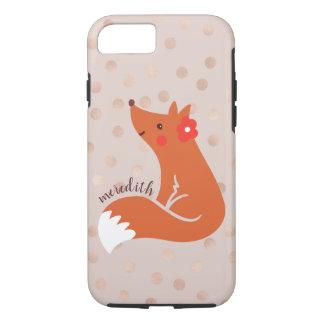 Cute Fox With Flower/Blush Confetti Background Case-Mate iPhone Case