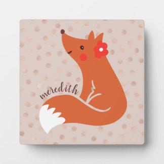 Cute Fox With Flower/Blush Confetti Background Plaque