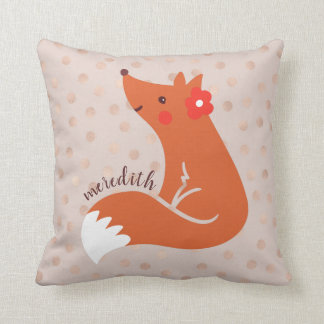 Cute Fox With Flower/Blush Confetti Background Throw Pillow