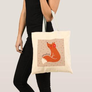 Cute Fox With Flower/Blush Confetti Background Tote Bag