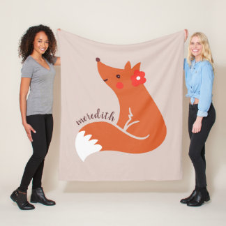 Cute Fox With Flower Fleece Blanket