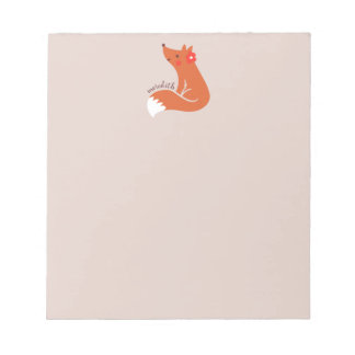 Cute Fox With Flower Notepad
