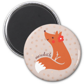 Cute Fox With Flower Personalized Magnet
