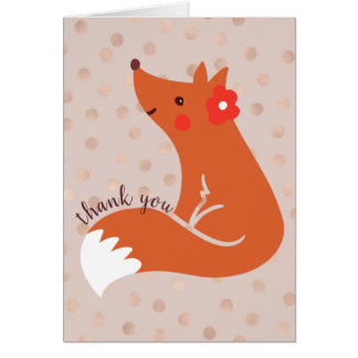 """Cute Fox With Flower """"Thank You"""" Card"""