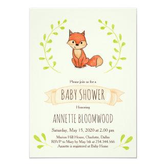 Cute Fox Woodland Baby Shower Card