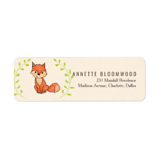 Cute Fox Woodland Baby Shower Return Address Label