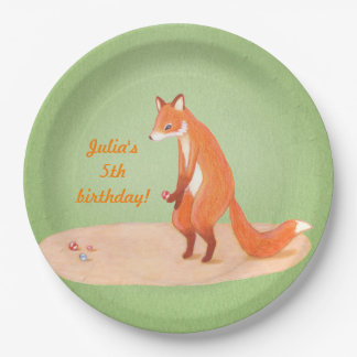 cute fox woodland kids party decor paper plate