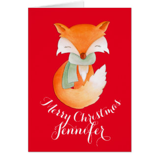 Cute fox wrapped up art greeting card red