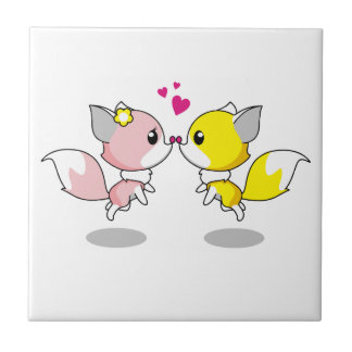Cute foxes in love cartoon ceramic tile