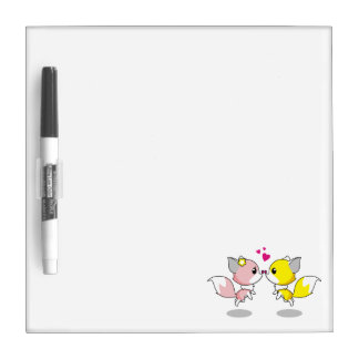 Cute foxes in love cartoon girls dry erase whiteboards