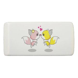 Cute foxes in love cartoon girls eraser