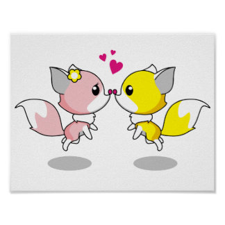 Cute foxes in love cartoon girls poster