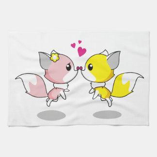 Cute foxes in love cartoon hand towels