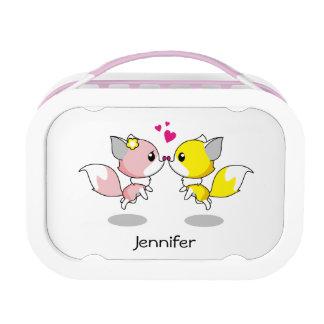 Cute foxes in love cartoon lunch box