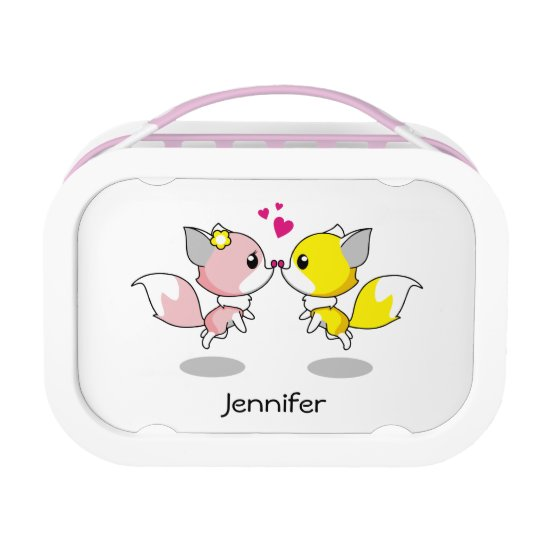 Cute foxes in love cartoon lunchboxes