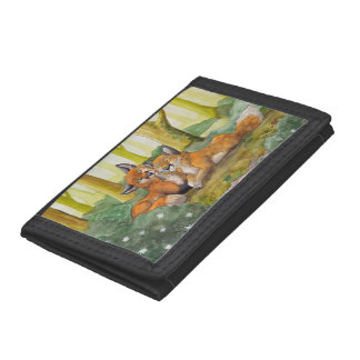 Cute foxes resting in forest tri-fold wallets