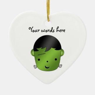 Cute Frankenstein monster Ceramic Heart Ornament