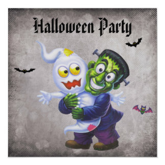 "Cute Frankie & Ghost Damask Halloween Party 5.25"" Square Invitation Card"