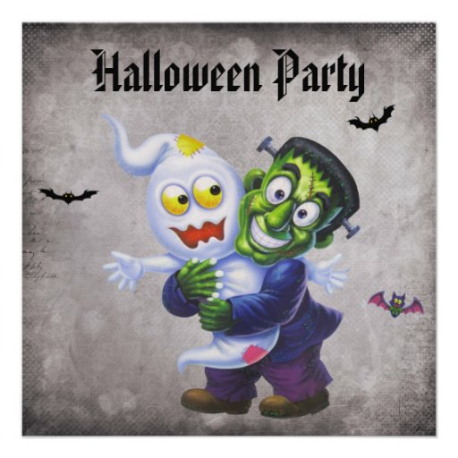 Cute Frankie & Ghost Damask Halloween Party Personalized Announcements