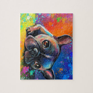 Cute French Bulldog art Puppy dog puzzle
