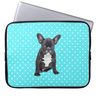 Cute French Bulldog Blue Polka Dots Laptop Sleeves