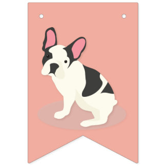Cute French Bulldog. Bunting Flags