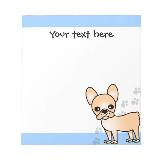 Cute French Bulldog Cartoon Tan Notepad
