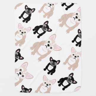 Cute French Bulldog Frenchies Pattern Baby Blanket