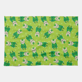 Cute French Bulldog is Feeling Lucky on St. Patric Kitchen Towel